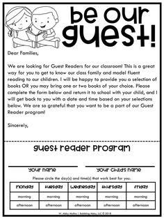 Setting Up a Guest Reader Program in Your Classroom I am a BIG proponent of having guest readers in our classroom for several reasons. First of all, it's one way to bridge the gap between home and school. Parents, grandparents, and even older siblings wer Kindergarten Reading, Kindergarten Classroom, Preschool Classroom Management, Preschool Activities, Preschool Forms, Preschool Transitions, Preschool Programs, Preschool Colors, Library Activities