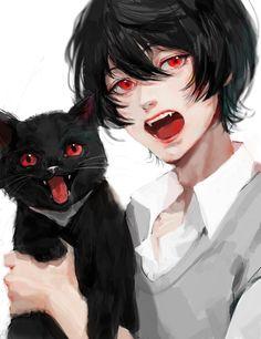A black anime hair guy with a black cat Manga Anime, Art Manga, Anime Oc, Anime Hair, Anime Boy Drawing, Anime Eyes, Kawaii Anime, Chibi, Dark Anime