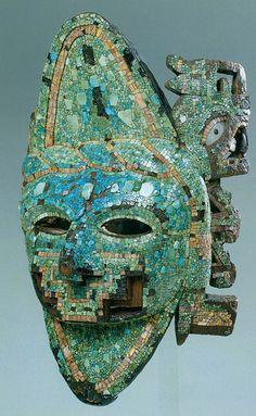 """Turquoise Mask (Máscara de turquesa), Mexico, Aztec-Mixtec(c.325-1521) Wood, turquoise, jadeite, shell, mother-of-pearl, coral Museo Nazionale Preistorico-Etnografico """"Luigi Pigorini,"""" Florence"""