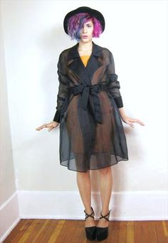 90s Black Sheer Illusion Belted Blazer Evening Jacket (L/XL) from Honey Moon Muse