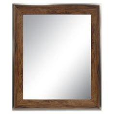 Antique Wood Modern Decorative Wall Mirror - Threshold™