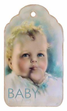 Vintage Baby Boy Tag ~ Brocante Brie