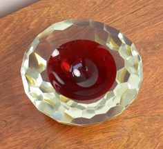 Faceted Murano Glass Sommerso Bowl, circa 1960 6