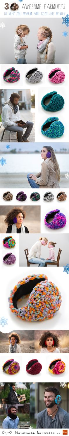 30 Awesome Handmade Crochet Earmuffs to keep your ears warm and cozy all winter. Lots of colors For Man, Woman and Kids! on Etsy: www.handmadeearmuffs.etsy.com