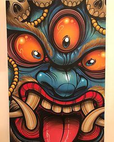 """Wrathful Power 24"""" x 36"""" acrylic and spray on canvas."""