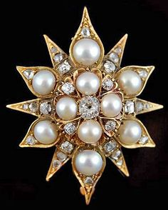 Gold Diamond and Pearl Star Brooch