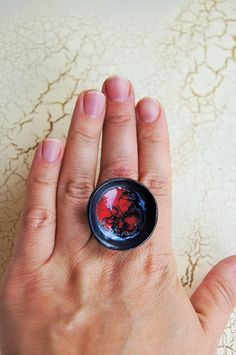 Ceramic ring hot red lava volcano Womens Cabochon Ring Ceramic