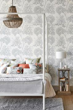A Nature Themed Harlequin Wallpaper Design Created With Gl Beads Featuring Trailing Plant Silhouettes Set
