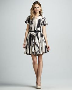 Belted Printed Dress by Halston Heritage at Neiman Marcus.