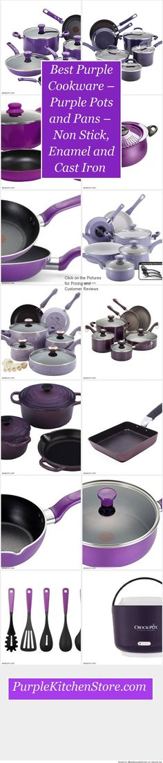 Best Purple Cookware – Purple Pots and Pans –Non Stick, Enamel and Cast Iron #PurpleKitchenStore #PurpleCookwareSetspks