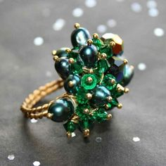 Genuine Blue Green FW Pearls & Swarovski Crystal Ring in 14kt Gold Filled Sizes 5 - 10 by Maru