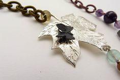 Farfalla in Argento Brunito su Foglia Argento 925- Micromondo