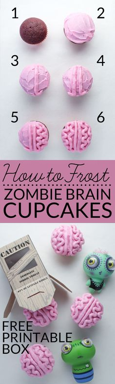 Learn how to frost brain cupcakes with this easy tutorial. You can celebrate everything zombie and goolish with this all natural zombie brain cupcake recipe that contain no artificial food coloring!  Free zombie gift box. Great Halloween or Valentine treat