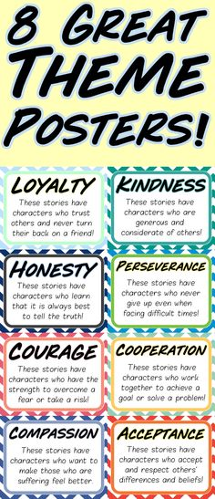 Check out this great tool for any fiction lesson plan or unit. These handy dandy posters will help highlight 8 of the most common themes that students will find stories and how to identify them in the wild. Print them and put them on the walls. Print them and stick them in notebooks. Print them and leave them on the wind shields of co-workers that can use a great life lesson or two!