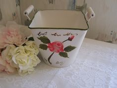Vintage Tin Planter Bucket w/ handles / Hand Painted Roses / Shabby Chic Planter…