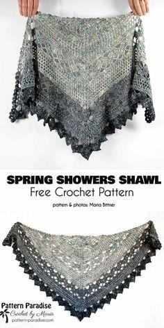 Crochet shawl 345862446385468891 - Spring Shower Shawl Free Crochet Pattern Source by LauraLeCaillou Crochet Shawl Free, Pull Crochet, Crochet Shawls And Wraps, Crochet Scarves, Crochet Clothes, Crochet Lace, Crochet Stitches, Crochet Cowls, Knit Shawls
