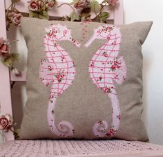 Cushion,sea horses applique pillow,appliqued cushion,pink sea horses by APPLEBLOOMCRAFTS on Etsy
