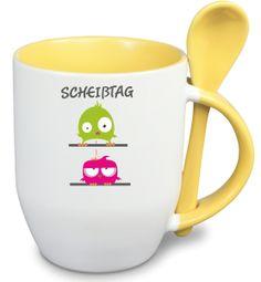 Löffeltasse mit  Namen und Wunschmotiv-gelb von Livingstyle und Wanddesign auf DaWanda.com