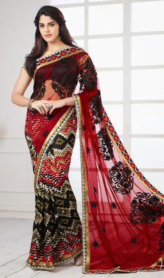 Black and Red Crepe Silk Net Saree Price: Usa Dollar $85, British UK Pound £50, Euro63, Canada CA$92 , Indian Rs4590.