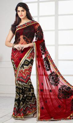 Black and Red Crepe Silk Net Saree Price: Usa Dollar $85, British UK Pound £50, Euro63, Canada CA$92 , Indian Rs4590.