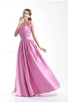 A-Line Halter Floor-Length Satin Homecoming Dress with Beading