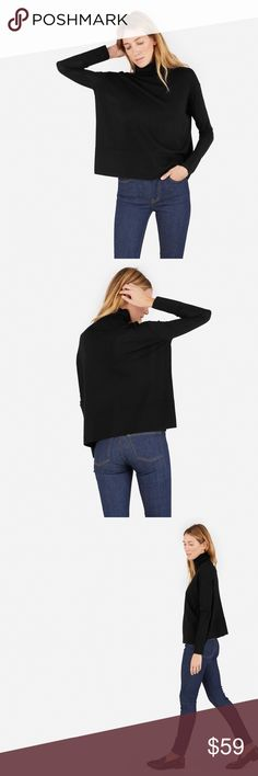 """Everlane Luxe Wool Square Turtleneck, Black Worn once Everlane turtleneck. Nice fabric and flattering shape. This fits like a S if you are under 5' 4"""". Everlane Sweaters Cowl & Turtlenecks"""