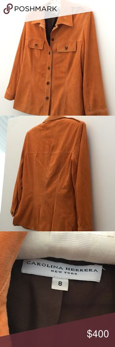 """Carolina Herrera pumpkin colored suede, 8 Softer than baby's skin top design jacket or shirt. Lined in chocolate silk. 10 tortoise shell colored buttons. Never worn but had spots, dry cleaned. Tags left on inside. 15"""" shoulder, 24"""" long, 20"""" sleeve, 18"""" bust across.  Please make reasonable offers, will accept best offer Carolina Herrera Jackets & Coats"""
