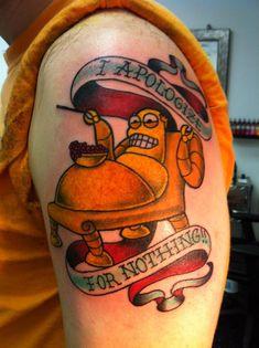 Futurama fans should appreciate my buddy's new tattoo