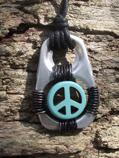 Pop the Top on Peace- Soup Tab Peace Sign Necklace.