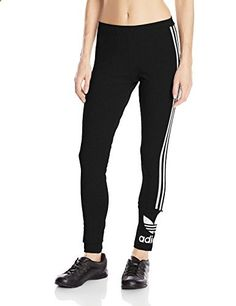 adidas Originals Women's 3-Stripes Leggings, Medium, Black/White  Go to the website to read more description.