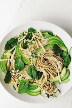 Get the recipe for this cold soba noodle salad, which is packed with avocado, tahini, Sriracha, red miso and spinach, from wellness chef Candice Kumai.