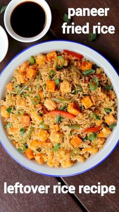paneer fried rice recipe, paneer fry rice, veg paneer fried rice with step by step photo/video. stir fried rice recipe with crumbled paneer & veggies. Rice Recipes For Lunch, Leftover Rice Recipes, Breakfast Recipes, Veg Dinner Recipes, Mexican Rice Recipes, Spicy Recipes, Curry Recipes, Indian Food Recipes, Cooking Recipes