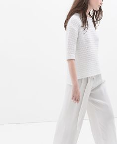 MINIMAL + CLASSIC: textured white with palazzo pant