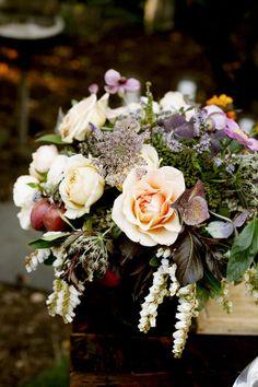 darkly romantic rose, Queen Anne's lace, pieris and stonefruit arrangement by McKenzie Powell