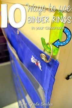 10 Ways to Use Binder Rings in the Classroom- applicable to the upper elementary classroom, too! There are some great ideas that never crossed my mind! Pocket Charts, baskets, flashcards attached to chairs. Classroom Hacks, Classroom Organisation, Teacher Organization, Teacher Hacks, Kindergarten Classroom, Future Classroom, Classroom Management, Classroom Setup, Classroom Supplies