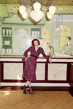 Karen Elson serves pure elegance in Andrew Gn dress 2016 Campaign