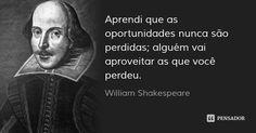 Aprendi que as oportunidades nunca são perdidas; alguém vai aproveitar as que você perdeu. — William Shakespeare