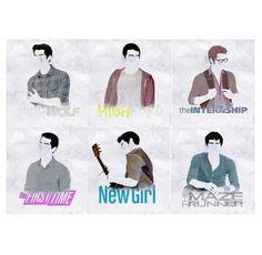Dylan O'Brien filmography  Teen Wolf | Highland | The Internship | The First Time | New Girl | The Maze Runner ~ celeb art