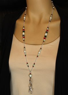 Christmas Lanyard, pearl and crystal bead ID badge holder, magnetic clasp, red & green lanyard, colorful breakaway, teacher lanyard, Holiday