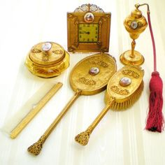 Art Déco Ormolu 24K Gold Plated 6 Piece Dresser Vanity Set with from trescharmante on Ruby Lane