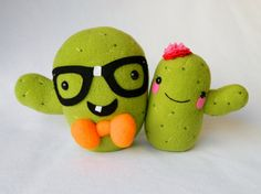 Cactus couple plush plant toys by mamamayberrys on Etsy