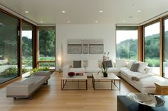 Good example of the shade of oak floor stain we wanted. Sunol Modern Residence - modern - Living Room - San Francisco - Swatt | Miers Architects