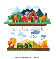Farm life: natural economy, agriculture, autumn harvesting, life in the countryside, village landscapes with mountains and hills. Tractor in the field harvests. Vector flat illustration - stock vector
