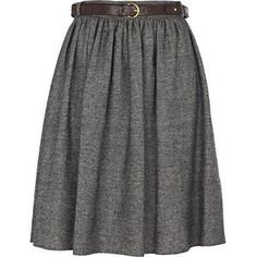 grey skirt.