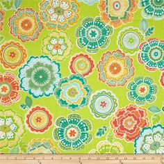Designed by Mitzi Powers for Benartex, this cotton print fabric is perfect for quilting, apparel and home decor accents. Colors include lime, orange, yellow and aqua.