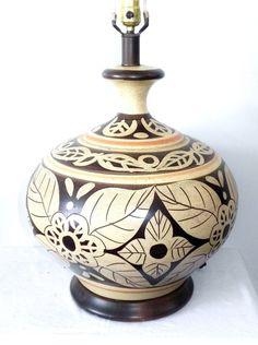 Fantastic Mid Century Modern Danish Vintage Table Lamp Ceramic Flowers HUGE