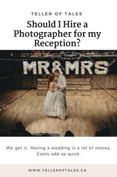 Should I Hire A Photographer For My Wedding Reception? Wedding Advice, Wedding Planning, Photography Timeline, Wedding Reception Photography, Lots Of Money, How To Plan, This Or That Questions, Movie Posters, Film Poster