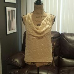 J. Crew  top Tanish with circle gold  color  pattern.  Questions just ask. J. Crew Tops