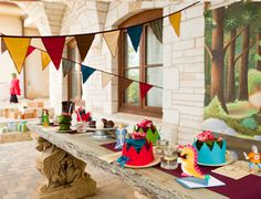 Knights party! i like the felt bunting and felt crowns