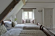 Wouldn't it be lovely to wake up in one of these dreamy cottage attic bedrooms? Check out these examples of wonderful attic bedroom designs and decor. Attic Bedroom Designs, Attic Bedrooms, Attic Design, Interior Design, Bedroom Curtains, Bed Design, Attic Renovation, Attic Remodel, Fresh Farmhouse